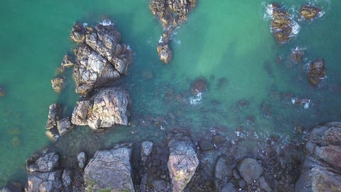 Aerial View of the Blue Wild Laguna Beach coastline bay with the rocks and Footage