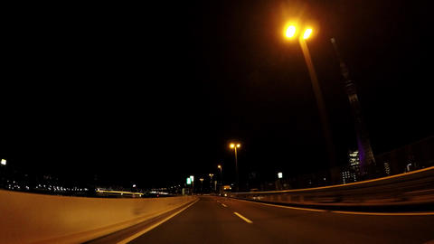 The way of Japan. Tokyo at night, the capital highway Live Action
