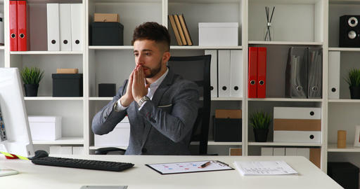 surprised businessman in workplace in modern office Footage