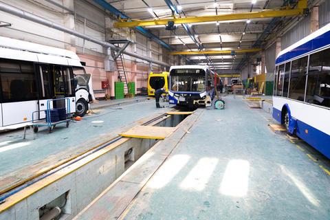 Minsk, Belarus - February 22, 2018: Trolleybus production line Photo