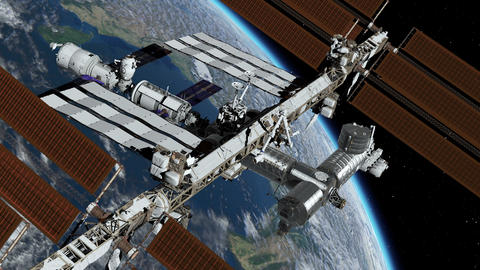 International Space Station ISS revolving over earths atmosphere. Space Station Footage