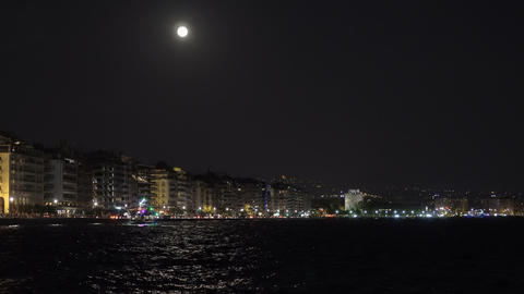 August Full moon over Thessaloniki, Greece waterfront Footage