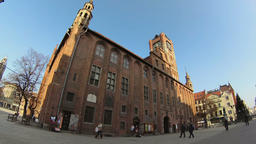 The Town Hall in Torun city. Old town. Unesco heritage site in Poland Footage