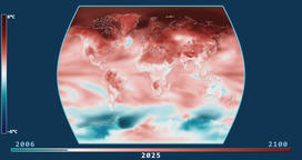 Surface Temperature Change Model. Times Atlas projection Animation
