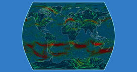 Wind speed over the Earth's surface in the Times Atlas projection Animation