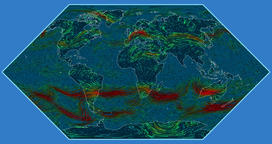 Wind speed over the Earth's surface in the Eckert I projection Animation