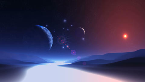 Two Moons over Alien Planet GIF