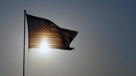American Flag Flying At Sunset Stars And Stripes Footage