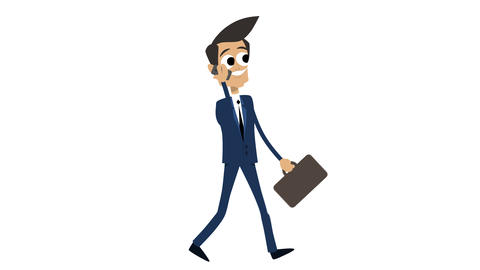 Businessman Animation Template 2 - Walking With Phone [4K] CG動画素材