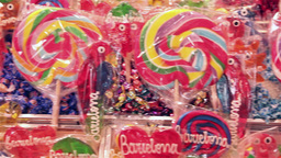 colorful lollipop at La Boqueria Market in Barcelona Footage