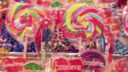 colorful lollipop at La Boqueria Market in Barcelona Footage