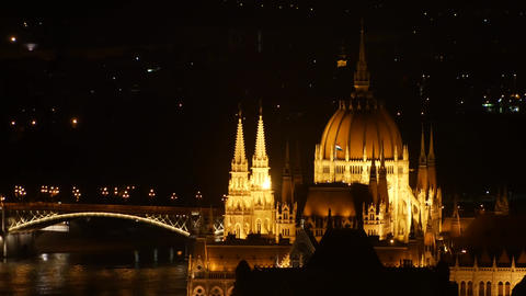 Hungarian Parliament and Danube River at Night in Budapest Footage