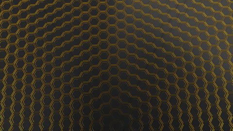 Wall of black hexagons with yellow glow Animation