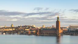 Stockholm Sweden time lapse 4K, city skyline timelapse at City Hall Footage