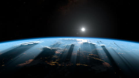 Sunrise from space. Earth from space Animation
