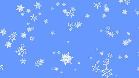 Snowflake particles on light blue background. Flying snow on winter background Animation