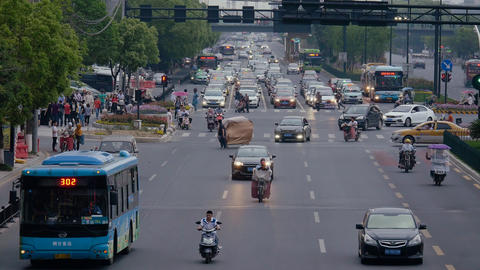 Crowd road with transport and pedestrian in China GIF