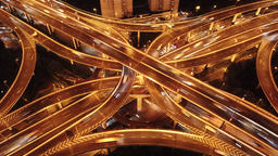 4k aerial hyperlapse video of highway traffic at night in Shanghai Footage