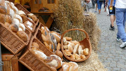 Marketplace. Stall with bread Footage
