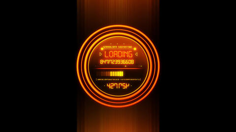 Orange HUD Data Loader Interface Loopable Graphic Element V2 Animation