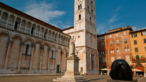 Piazza San Michele, Lucca, Tuscany, Italy Footage