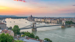 Budapest Hungary time lapse 4K, city skyline day to night timelapse at Danube Footage