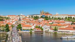 Prague Czech Republic time lapse 4K, city skyline timelapse at Charles Bridge Footage