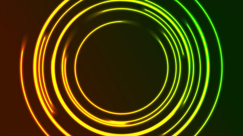 Vibrant glowing neon circles video animation GIF