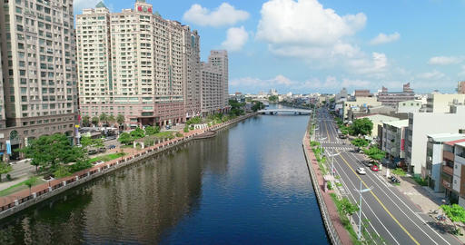 aerial shot of tainan Canal Live影片