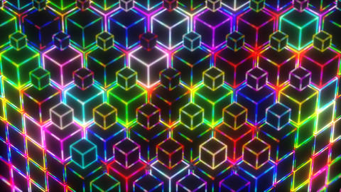 Neon Colorful Lights Cubes 4k Video Background CG動画素材
