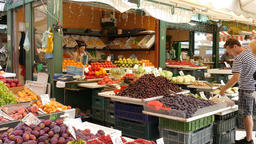 Food market. Fresh fruits and vegetables at outdoor market. Healthy food Live Action