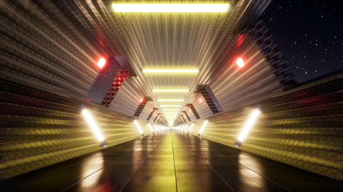 Movement in the night tunnel with neon Footage