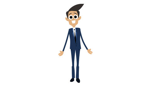 Businessman Cartoon Animation Template 7 - Explaining [4K] CG動画素材