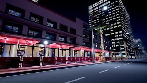 Beautiful scene of night neon street. 3D Rendering Fotografía