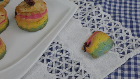 Fresh baked homemade Rainbow Scones cake Footage