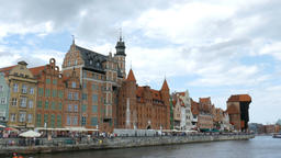 Gdansk, Poland - old town. Motlwa river. Old Town - Main City in Gdansk Live Action