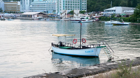 Small boat in the marina GIF