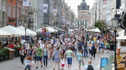 Crowd of people in Gdansk, Poland during St Dominic fair Footage