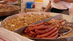 Food market. Street food. Fast food Footage
