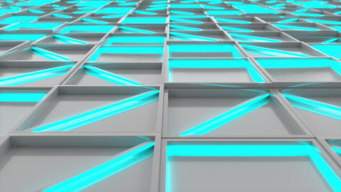 Wall of white rectangle tiles with blue glowing elements, Stock Animation