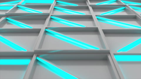 Wall of white rectangle tiles with blue glowing elements Animation
