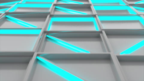 Wall of white rectangle tiles with blue glowing elements Stock Video Footage