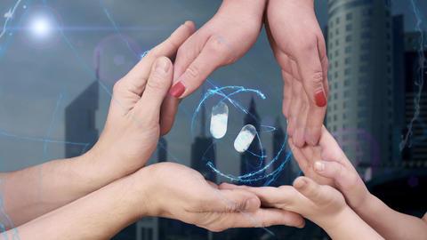 Men's, women's and children's hands show a hologram 3d pills 영상물