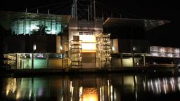 Oceanarium of Lisbon at night hyperlapse Footage