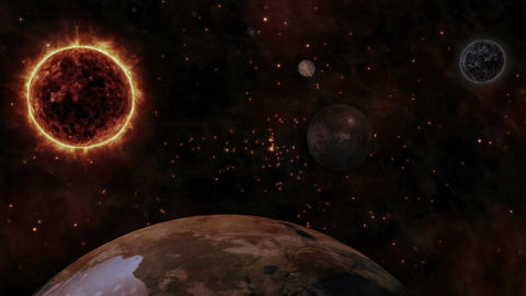 Sun and planets in space Animation