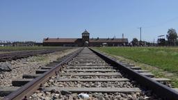 Gate and railway at Auschwitz Birkenau, german, nazi concentration camp Footage