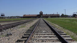 Gate and railway at Auschwitz Birkenau, german, nazi concentration camp Live Action
