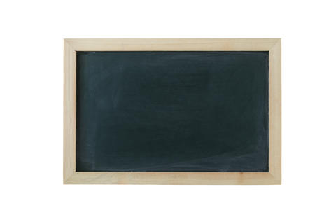 Blackboard background with wooden frame, rubbed dirty chalkboard フォト