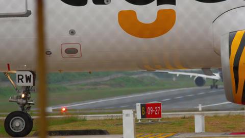 Tiger Air Airbus 320 turn runway Live Action