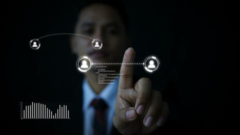 Business man using hologram HUD world map GIF